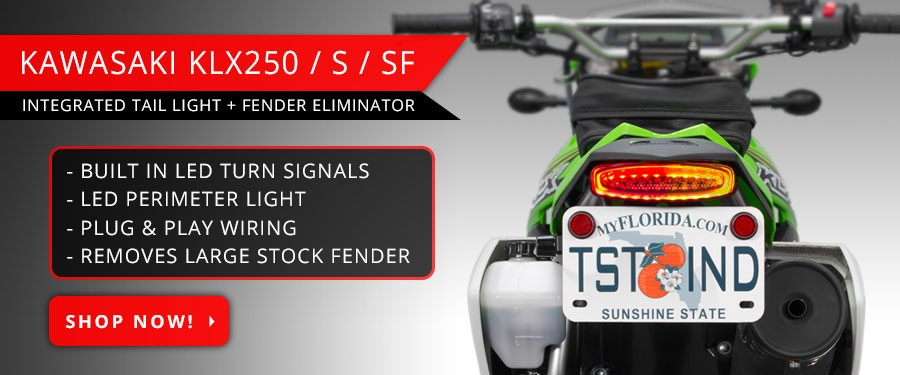 Clean the tail of your Kawasaki KLX250 with the TST Industries Integrated Tail Light and Fender Eliminator System.