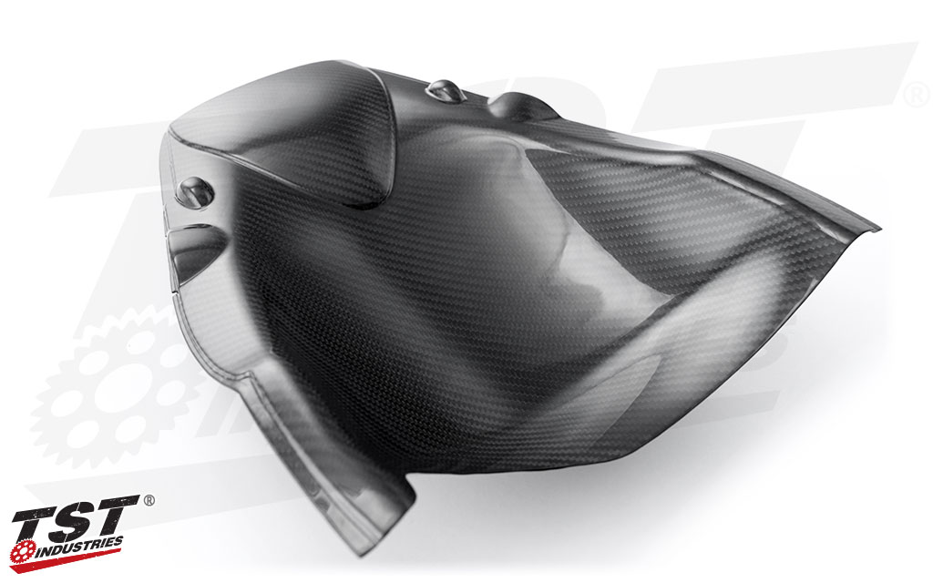Upgrade your Honda CBR600RR with a carbon fiber undertail panel to cover the unfinished and empty tail section.
