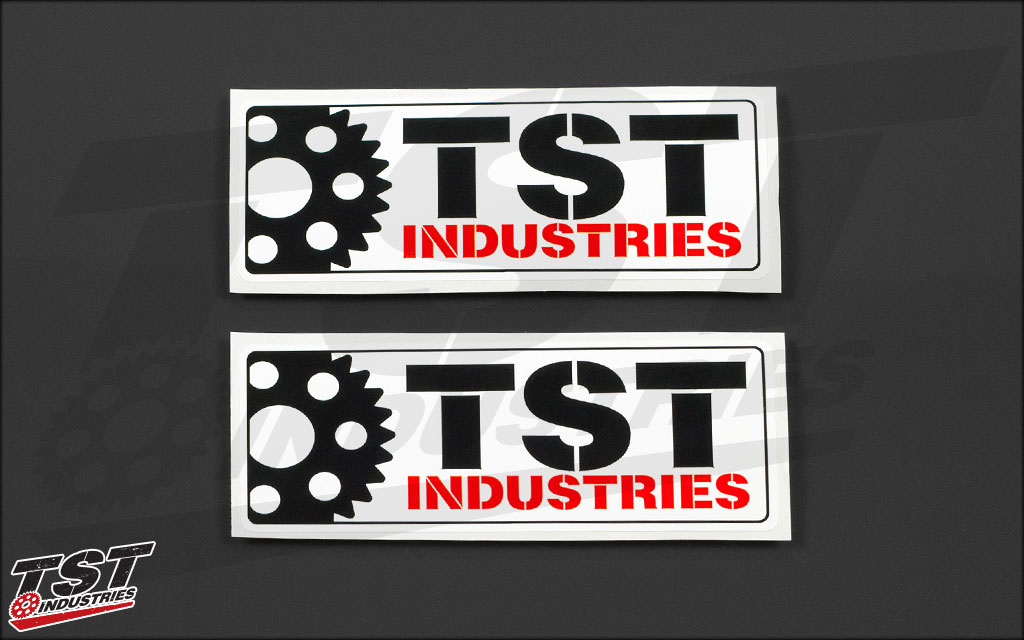 Rectangular TST sticker. Measures 5 x 2 inches.