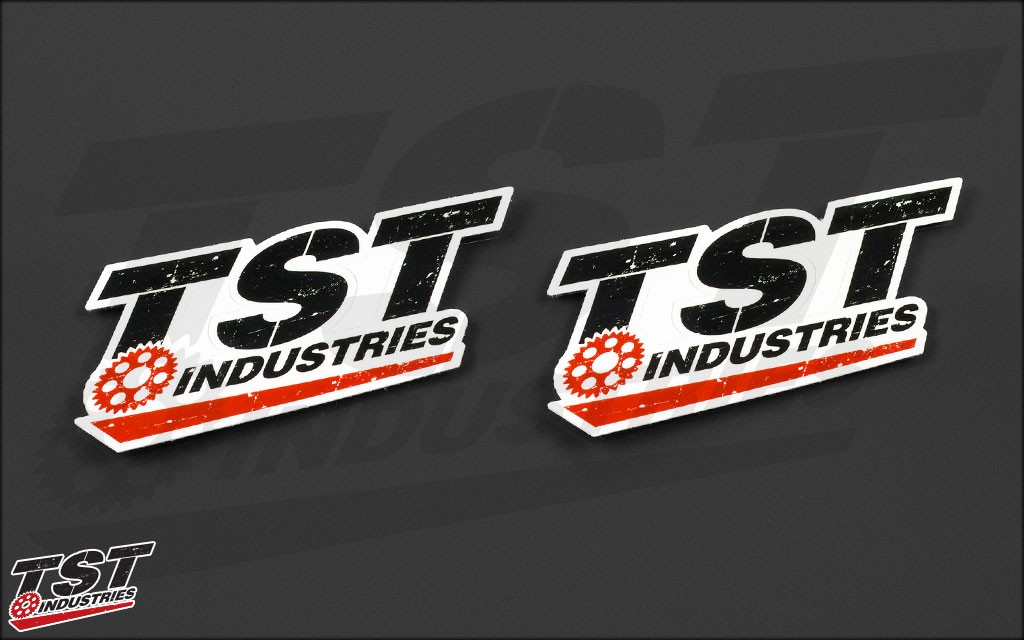 Large TST logo sticker. Measures 4.75 x 2 inches.