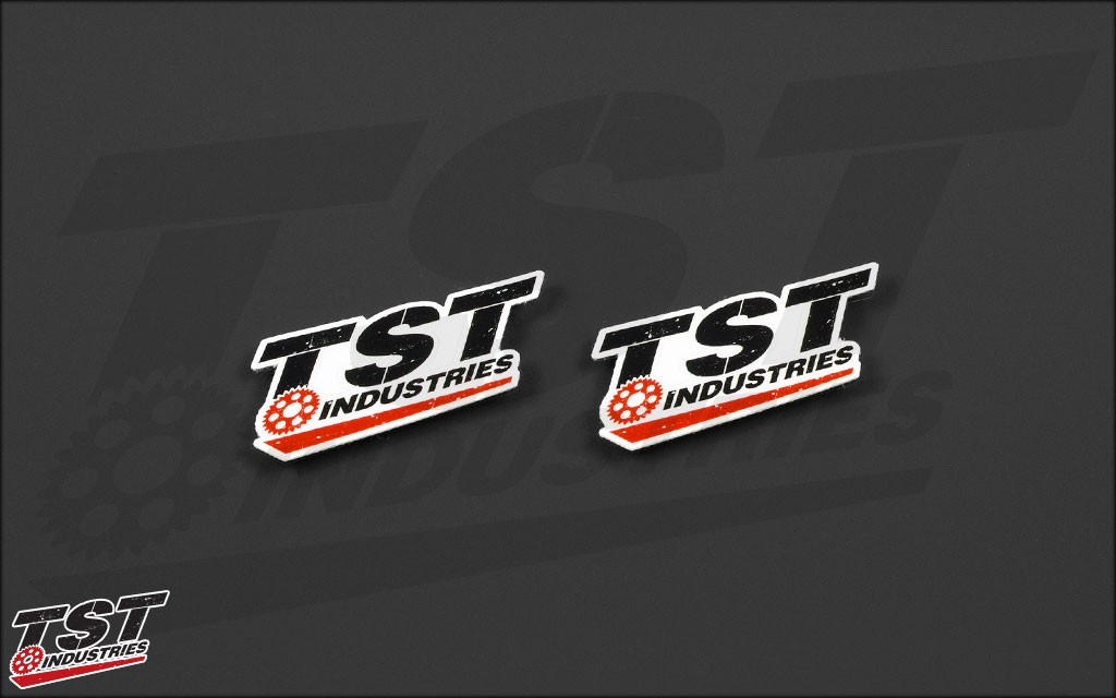 Small TST logo sticker. Measures 2.25 x 1 inches.
