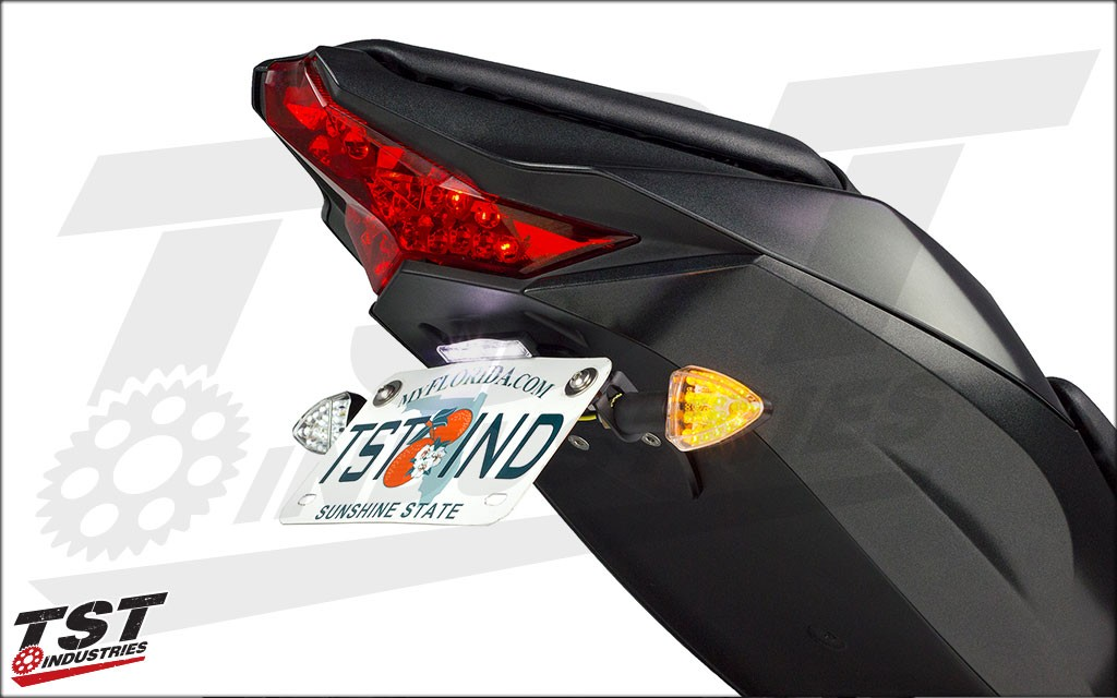 Shown with our LED Pod Signals, Standard Fender Eliminator, and License Plate Light (All sold separately)