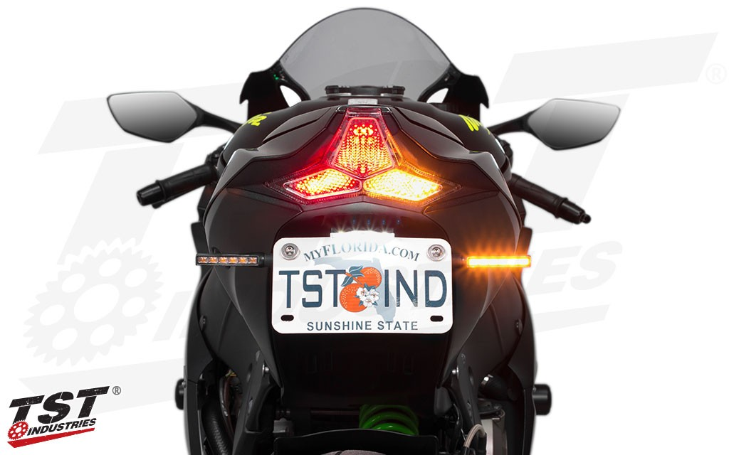 Shown with TST BL6 LED Pod Turn Signals, LED Integrated Tail Light, and Low-Profile LED License Plate Light. - Sold Separately