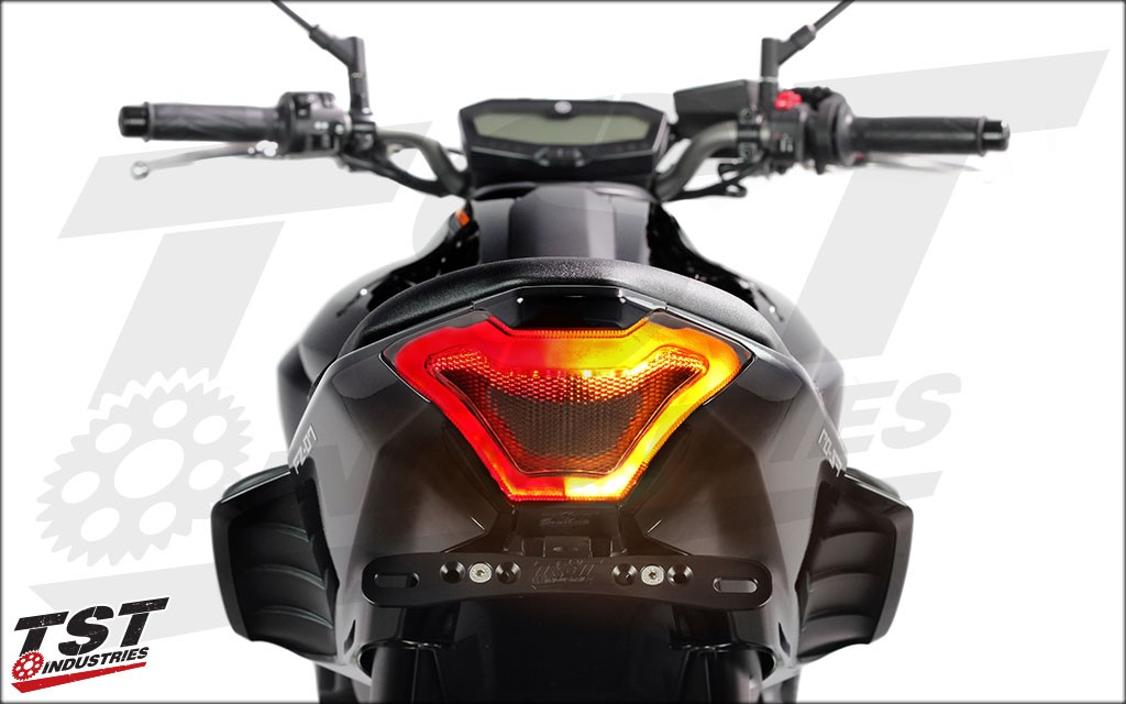 TST Industries LED Integrated Tail Light for the 2015 - 2017 Yamaha FZ-07 / MT-07. Smoked lens shown.