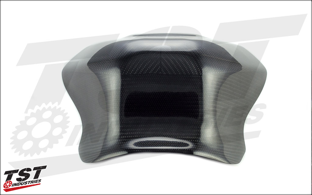 The shroud extends tank surfaces to interface ergonomically with the rider. (Version 1 Shown)