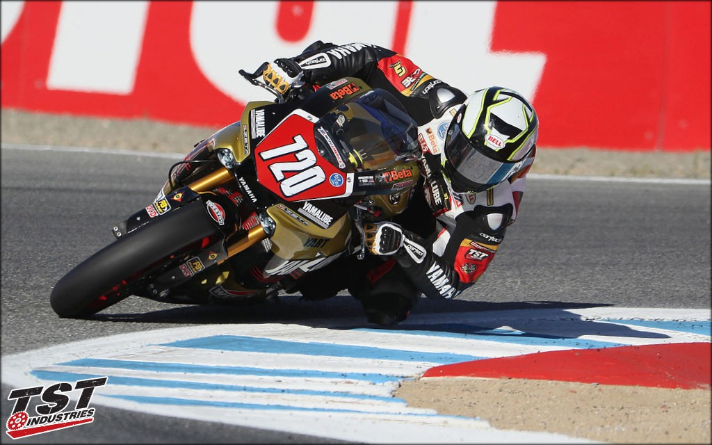 MotoAmerica Team Westby putting the R1 Tank Shroud to work in the corners.