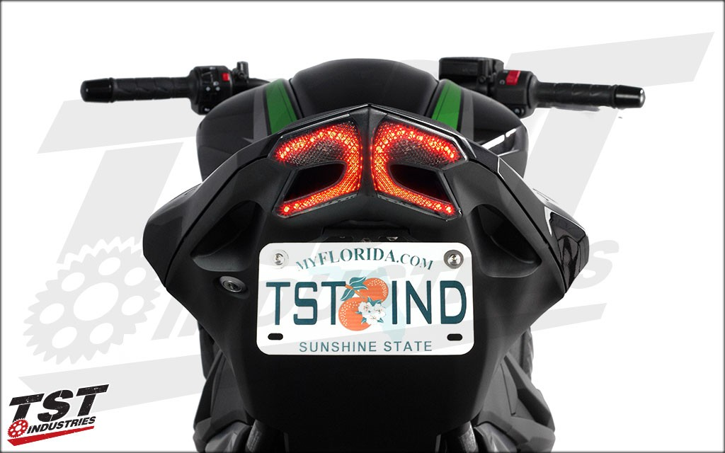 TST Industries Exclusive Integrated Taillight For The 2013 2016 Kawasaki Z800 Showing Running Light