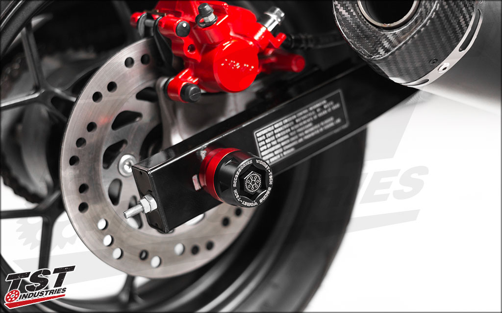 TST Industries Axle Sliders installed on the 2016+ Honda Grom.
