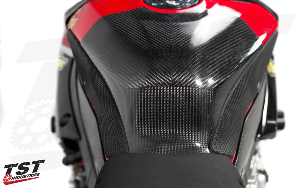 Version 1 Carbon Fiber SE Moto and TechSpec Tank Grips create a killer track weapon combo.