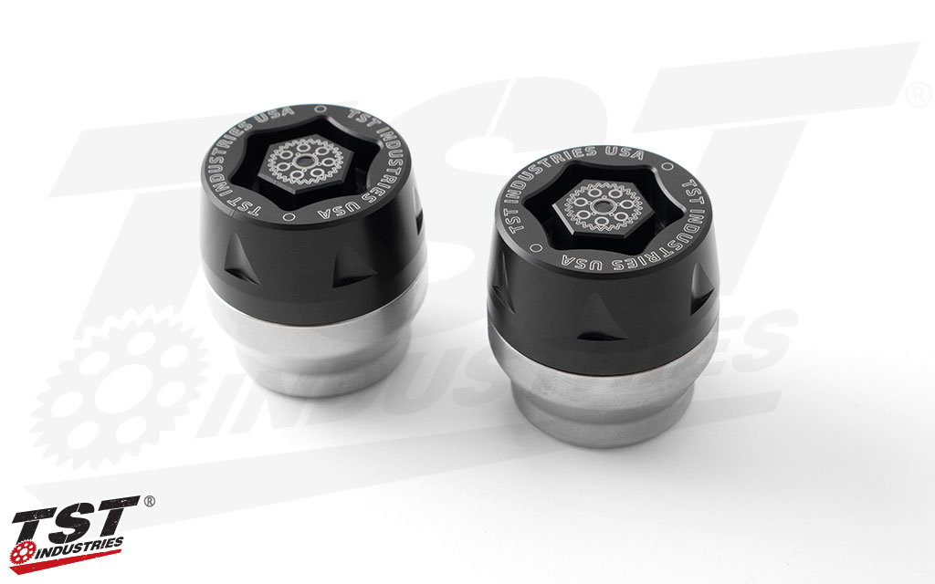 TST Industries Universal Mini-Bike Axle Sliders with a silver anodized finish.