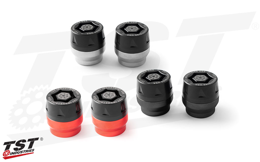 Available color options for the TST Universal Mini-Bike Axle Slider Kit.