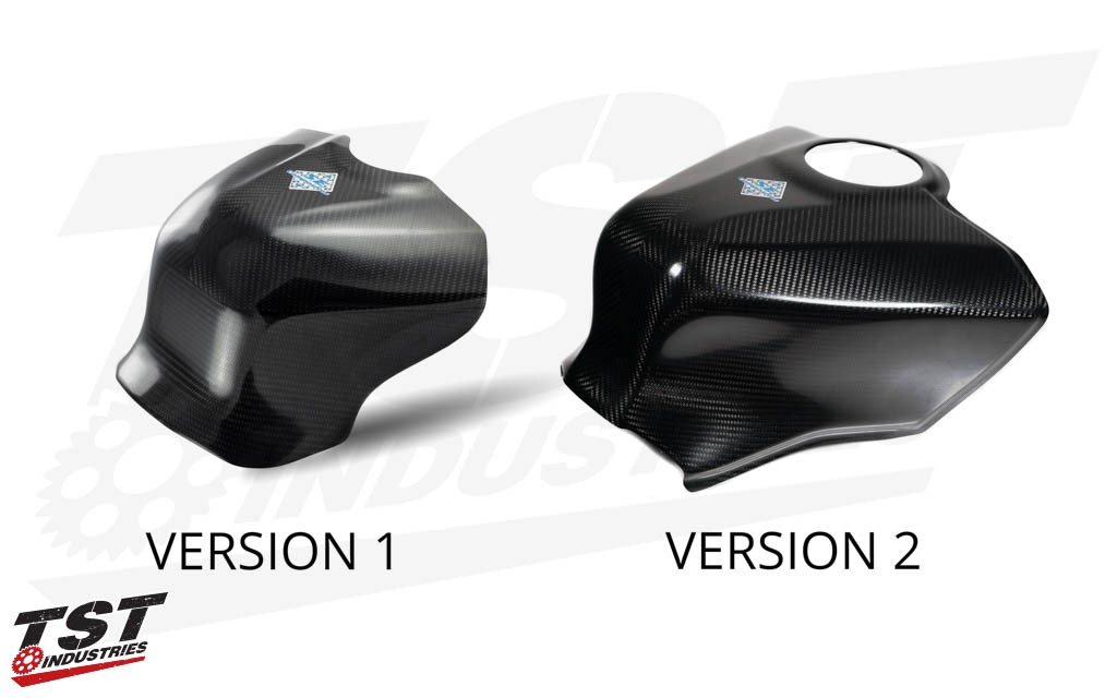 Compare Version 1 and Version 2 of the SE Moto Carbon Fiber Tank Shroud.