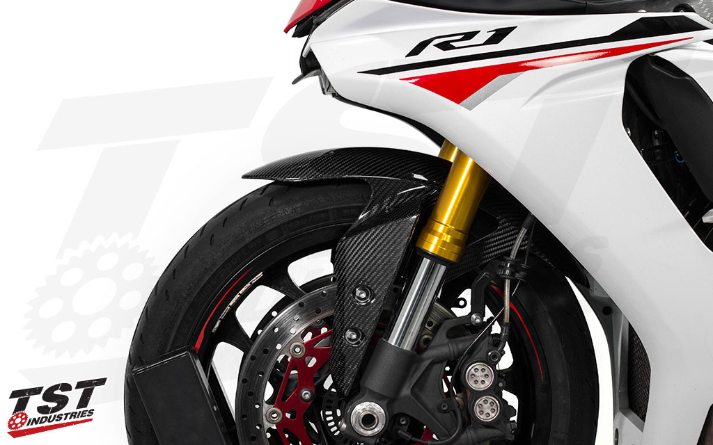 TST Industries Twill Carbon Fiber Front Fender for Yamaha R1, R6, and FZ-10 / MT-10