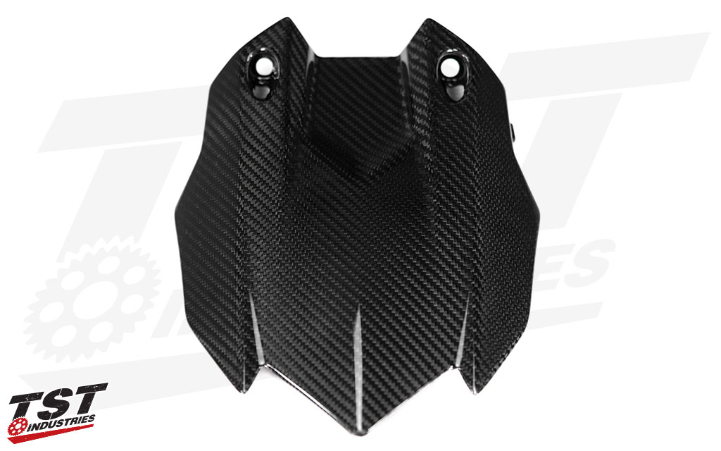 Ditch the OEM R1 rear tire hugger plastic for sexy twill carbon fiber.