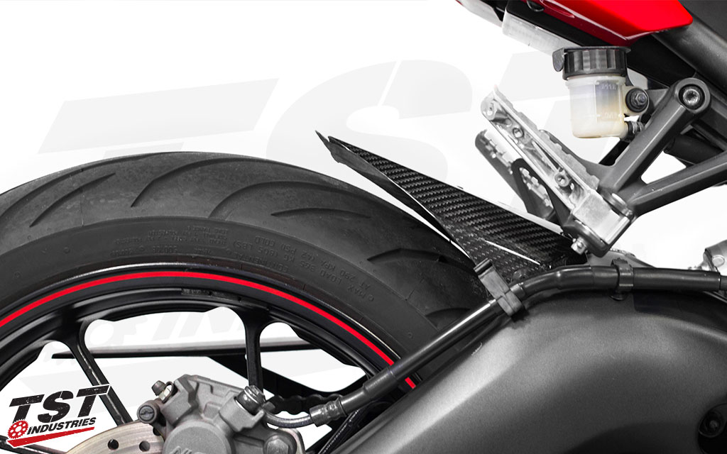 TST Industries Twill Carbon Fiber Rear Tire Hugger for the 2014+ Yamaha FZ-09 / MT-09 and 2016+ XSR900.
