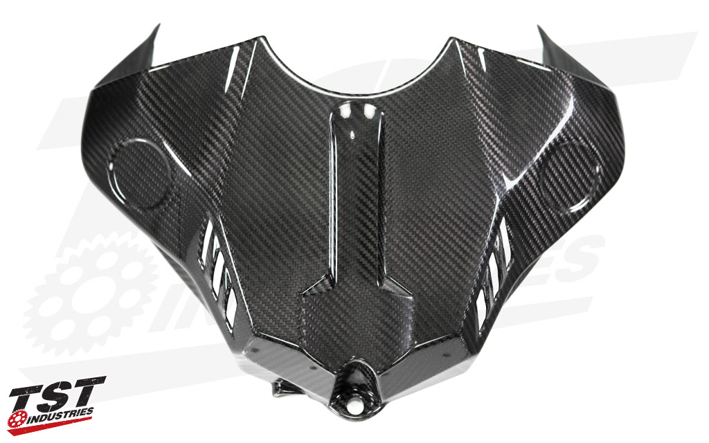 TST Industries Twill Carbon Fiber Fuel Tank Cover for the 2015+ Yamaha YZF-R1.