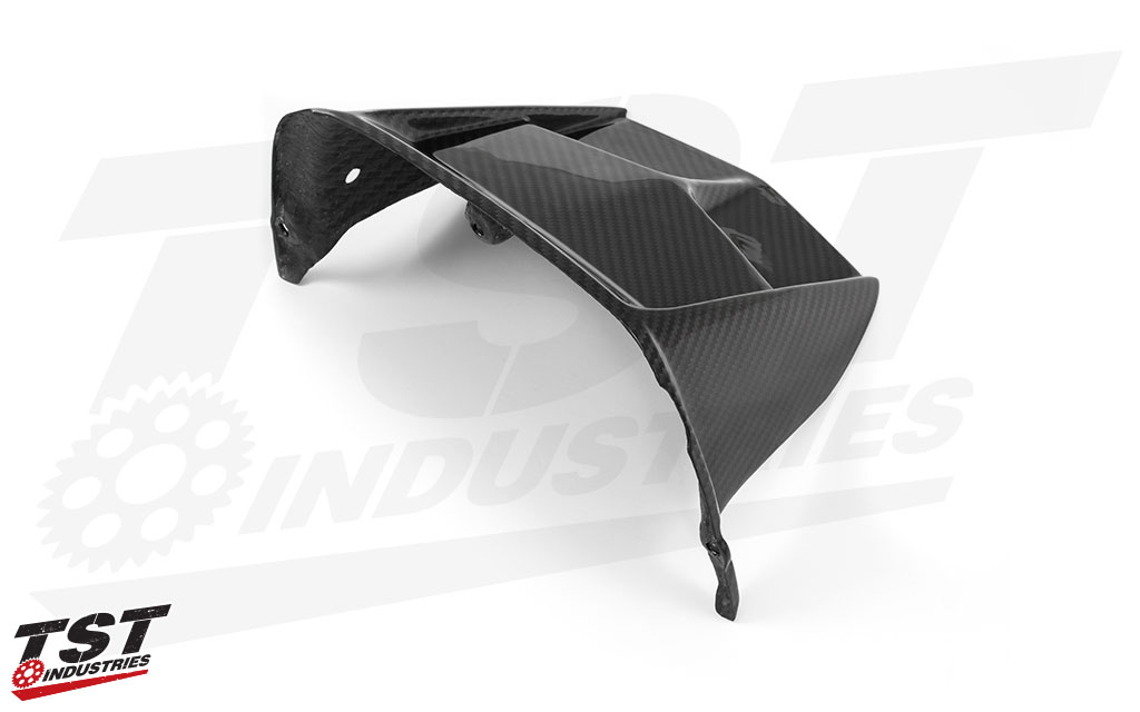 Made from twill carbon fiber with a gloss clear coat finish.