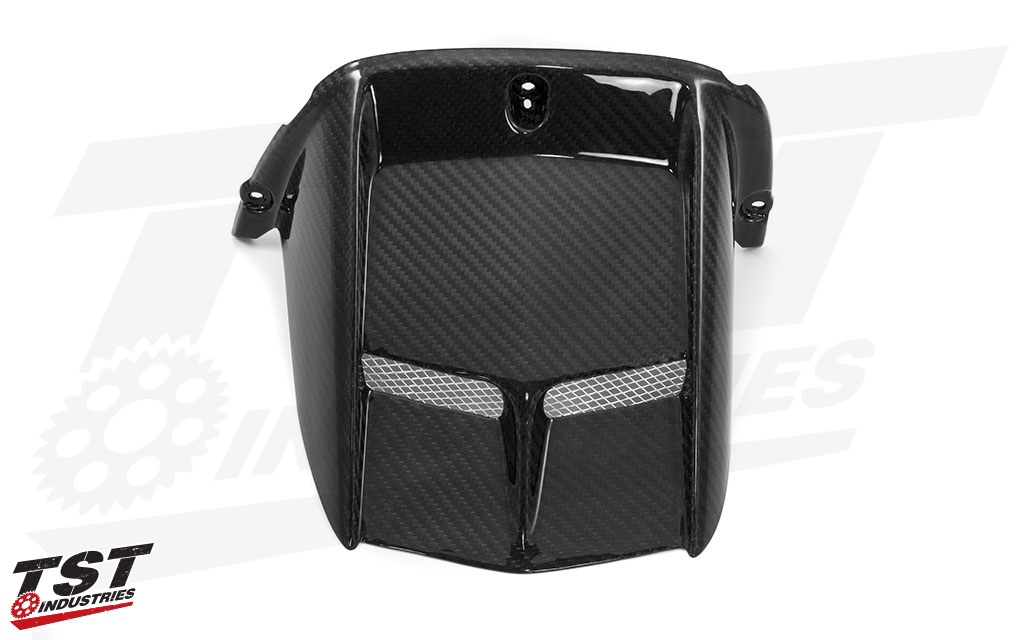 Ditch the boring stock R6 plastic rear fender for this sleek and aggressive carbon fiber rear hugger.