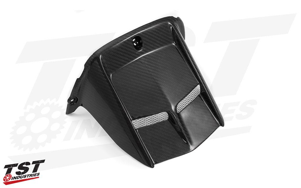 TST Industries Twill Carbon Fiber Hugger for the Yamaha YZF-R6 2006+.