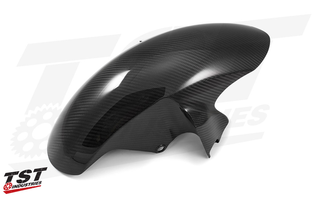 Add some aggressive and modern style to your Yamaha R6 with this twill carbon fiber front fender.