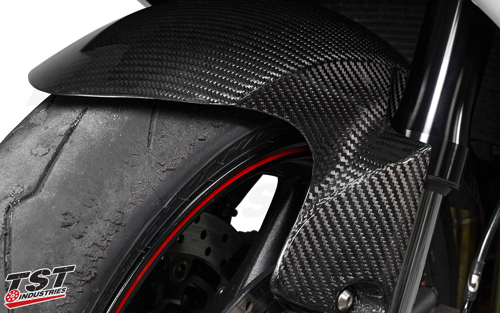 Twill carbon fiber weave with a high gloss clear coat.