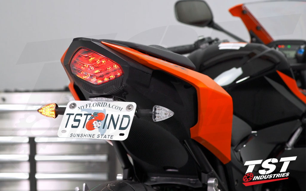 Clean up the tail section of your Honda CBR500R / CB500F. (Shown with the TST LED Pod Signal Kit and LED Low-Profile License Plate Light - sold separately)