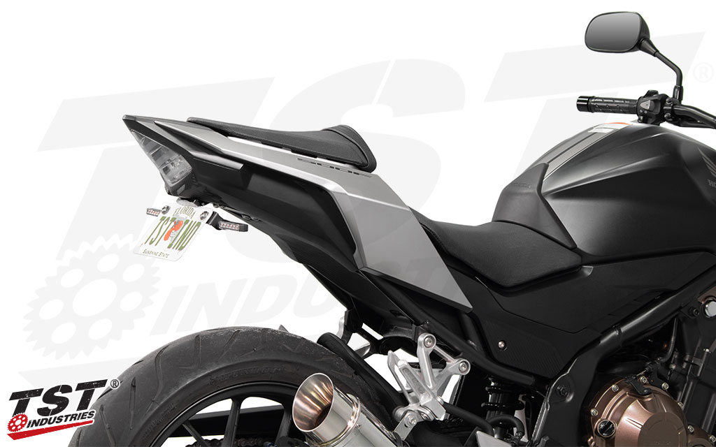 TST Standard Fender Eliminator for Honda CBR500R and CB500F. (Shown with the TST LED Pod Signal Kit and LED Low-Profile License Plate Light - sold separately)