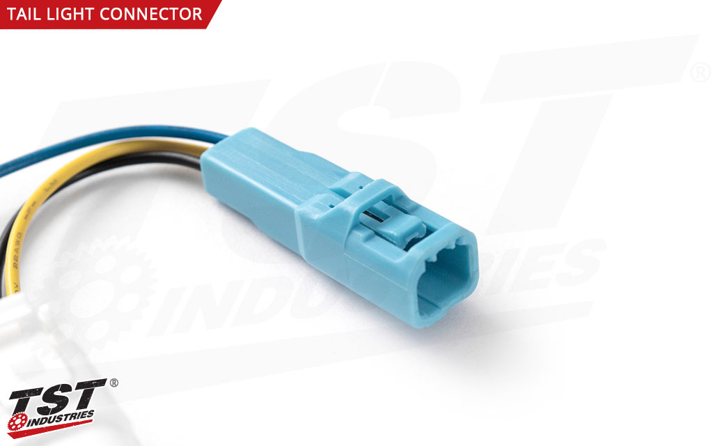Close up of connector that plugs into OEM Honda tail light.