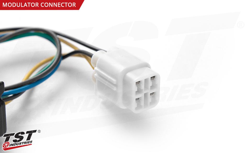 Close up of the harness converter Brake Light Modulator plug.