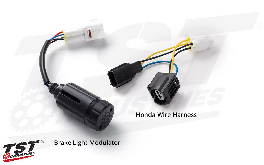 TST Brake Light Modulator - shown with Honda CBR500R / CB500F OEM tail light wire harness.