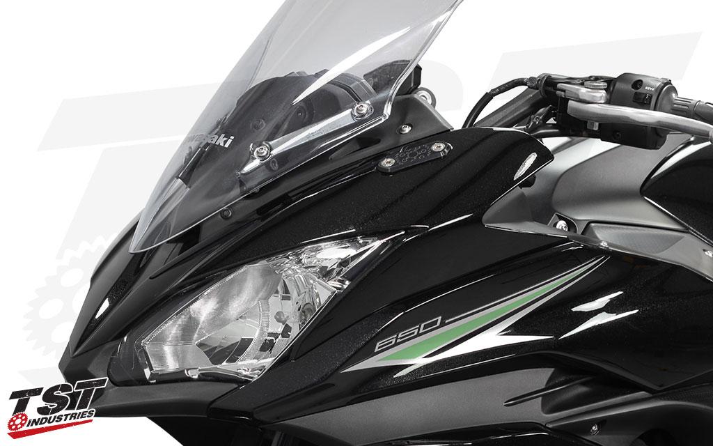 TST Mirror Block Off Plates on the 2017+ Kawasaki Ninja 650.