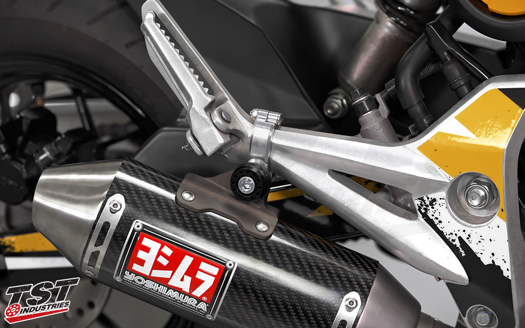 Simply and easily provide a strong mounting location for any low mount exhaust that uses the 2017+ stock mounting location.