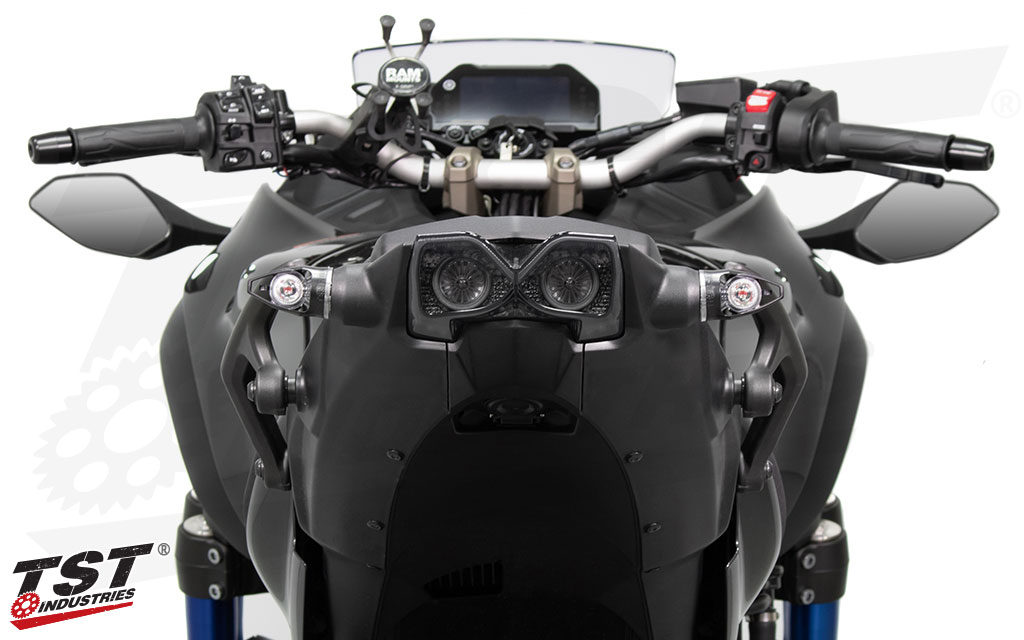 Upgrade your Yamaha Niken with the TST LED Integrated Tail Light. (Shown with MECH-GTR Turn Signals - Sold separately)