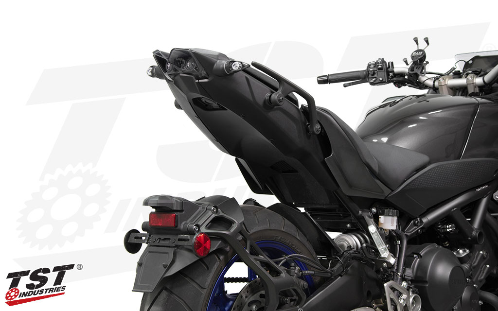 TST's Programmable and Sequential LED Integrated Tail Light on the 2018 Yamaha Niken. (Shown with MECH-GTR Turn Signals - Sold separately)