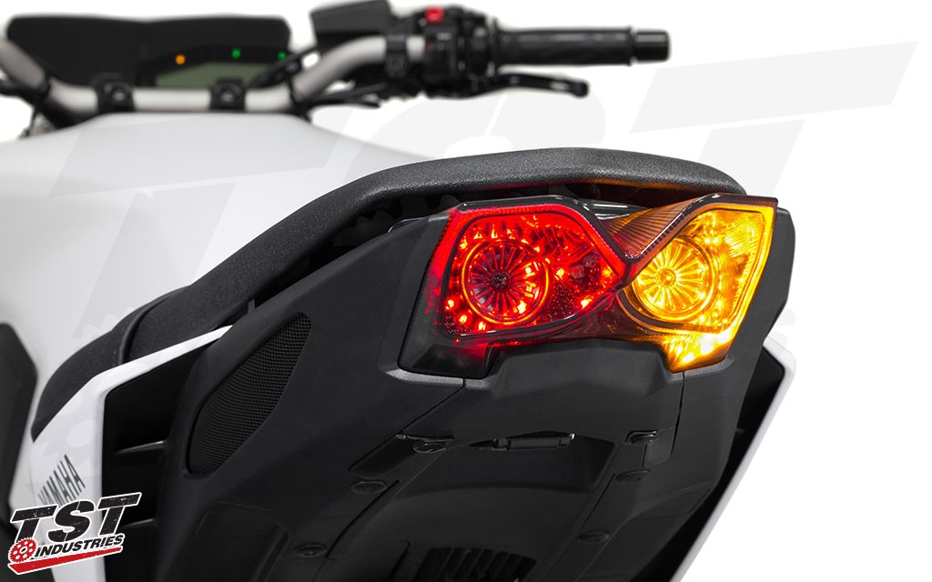 Bright LEDs and our unique lens geometry combine to create a completely badass integrated tail light for your FZ-09 / MT-09. Non-blemished shown