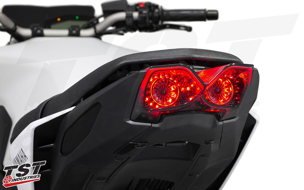 TST Industries has designed the new FZ-09 / MT-09 Integrated Tail Light to have unique perimeter lighting. Non-blemished shown