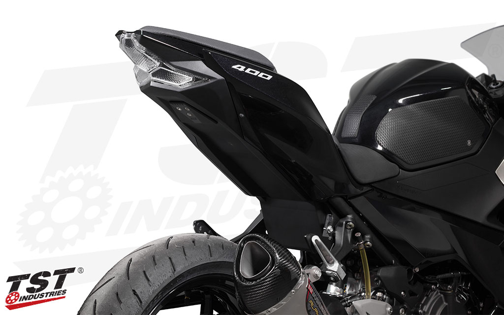 Gain a clean and finished look to your Ninja 400 or Z400 with our exclusive CNC machined Undertail Closeout.