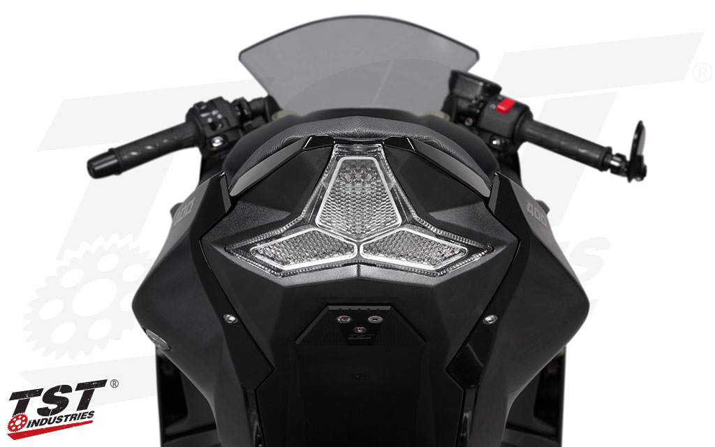TST Industries Clear LED Integrated Tail Light installed on the 2018 Kawasaki Ninja 400.