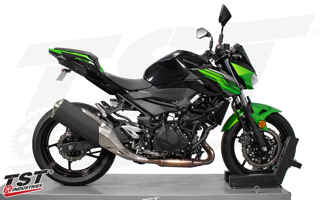 TST Elite-1 Fender Eliminator shown on the 2019+Kawasaki Z400.