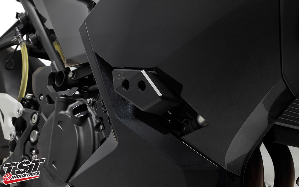 TST Frame Slider Crash Protection for the 2018+ Kawasaki Ninja 400.