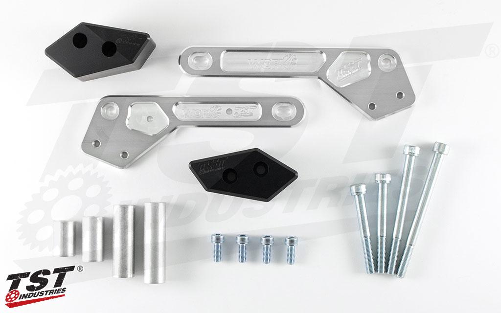 What's included in the Ninja 400 TST Frame Slider kit.