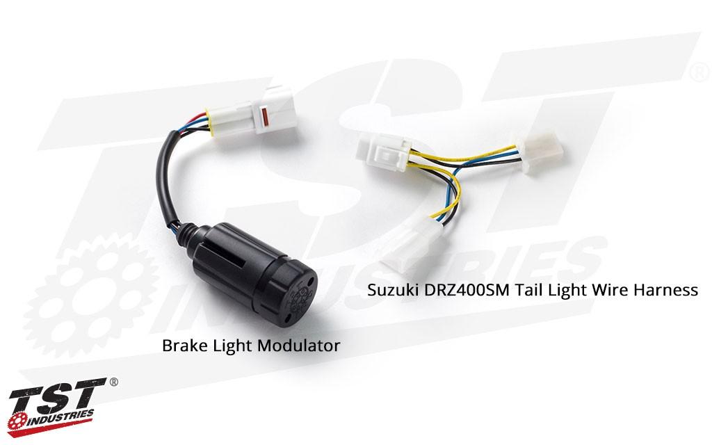 TST Brake Light Modulator - shown with Suzuki DRZ400SM tail light wire harness.