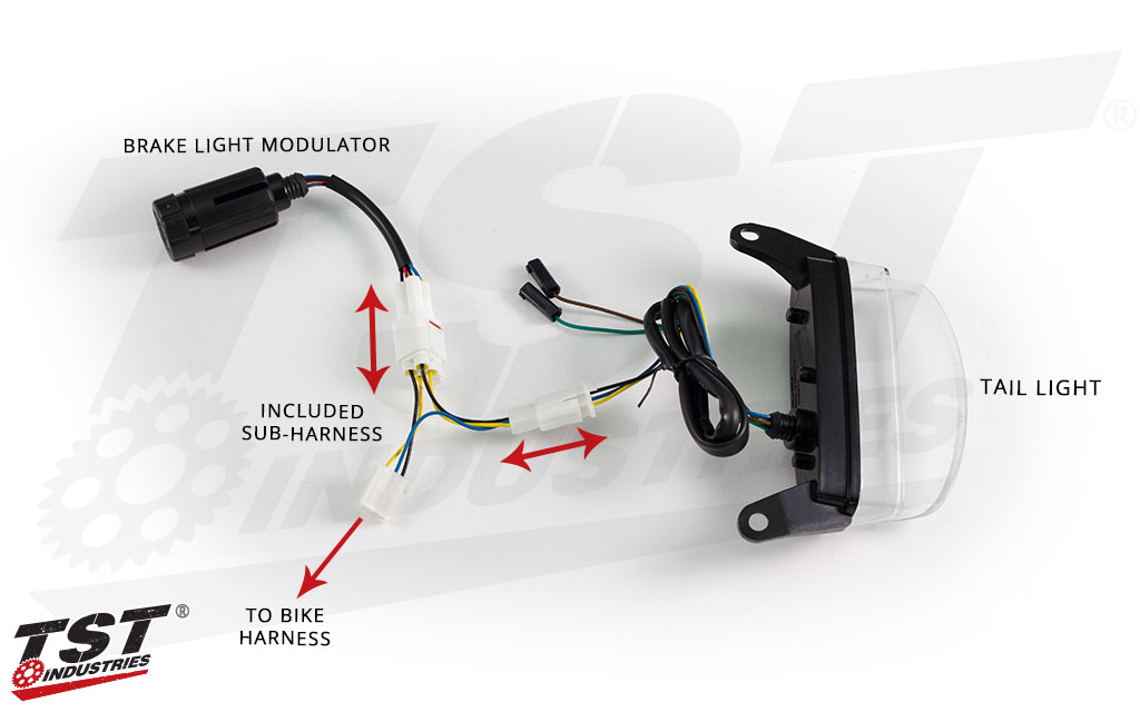 How to connect the TST Brake Light Modulator using the included plug-and-play sub-harness.