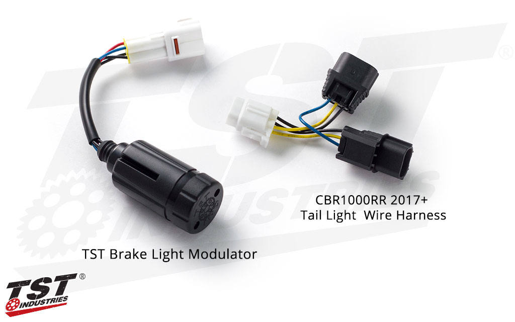 TST Brake Light Modulator - shown with the Honda CBR1000RR tail light wire harness.