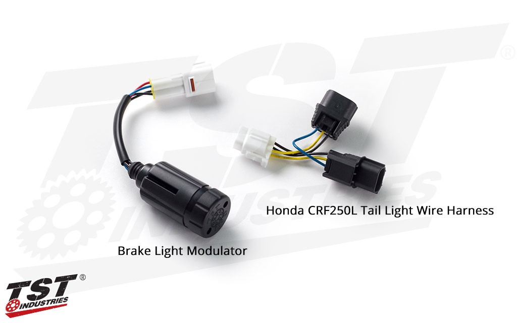 TST Brake Light Modulator - shown with Honda CRF250L OEM tail light wire harness.