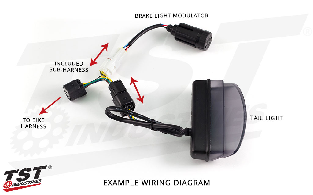 Example of how to connect the TST Brake Light Modulator using the included plug-and-play sub-harness.