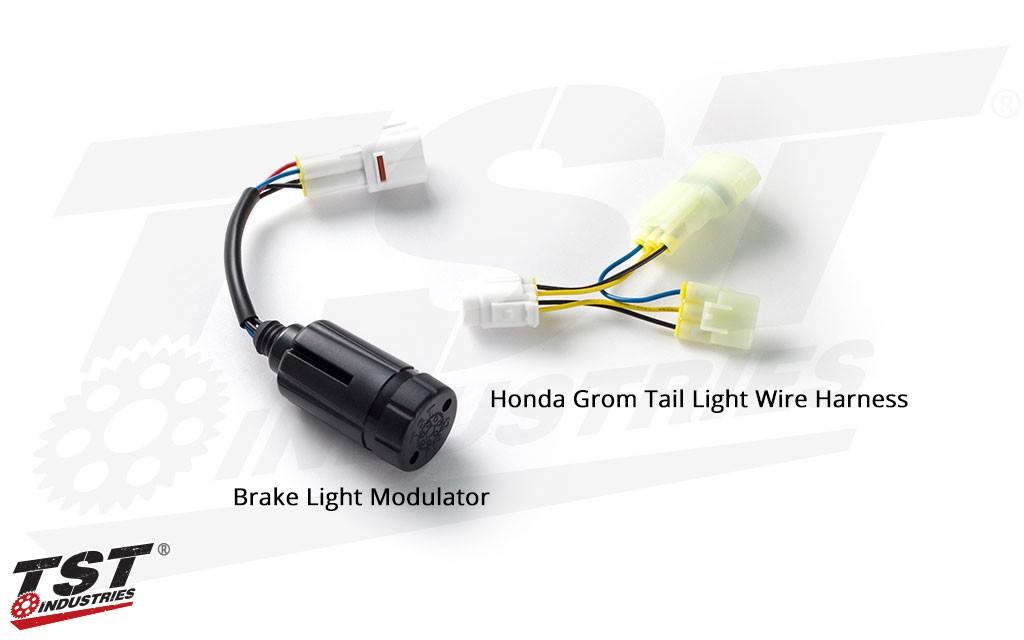 TST Brake Light Modulator - shown with Honda Grom OEM tail light wire harness.
