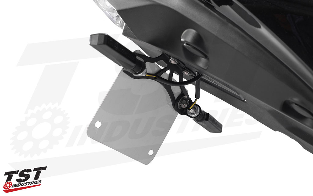 TST BL6 LED Rear Pod Turn Signals shown installed on the Kawasaki Ninja 650 / Z650 Standard Elite-1 Fender Eliminator. (Signals NOT included)