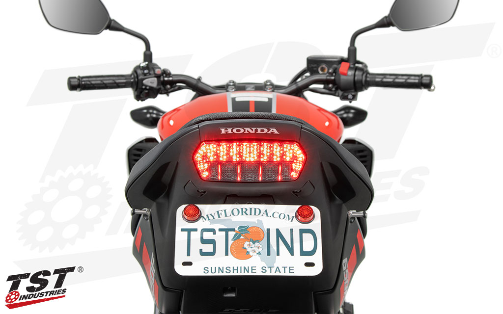 Improve the looks of your Honda CB650F / CBR650F with this laser cut steel fender eliminator. (TST Integrated Tail Light sold separately)