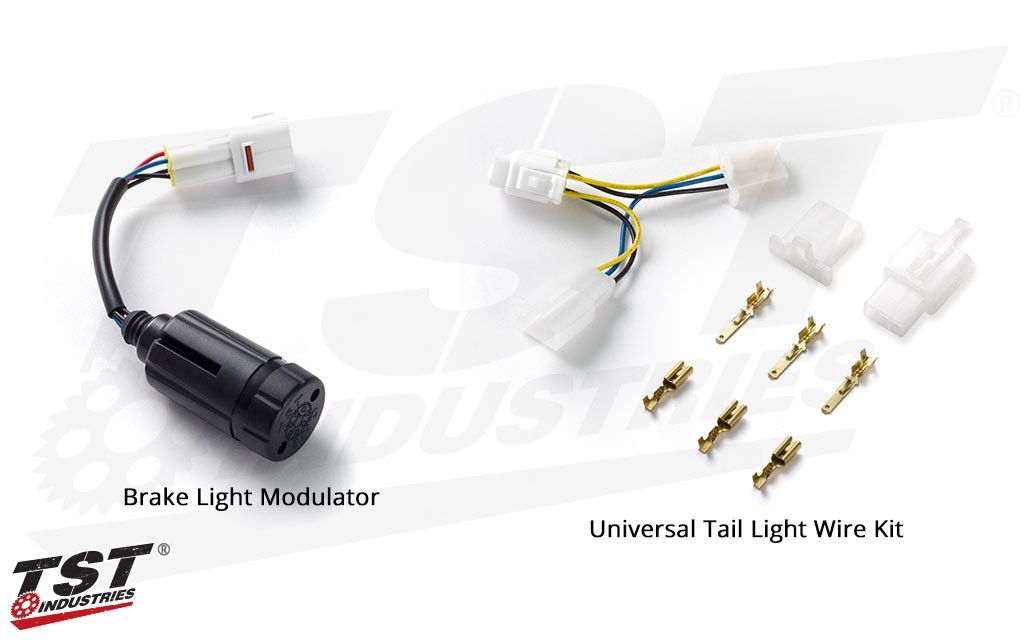 TST Brake Light Modulator - shown with Universal tail light wire kit.